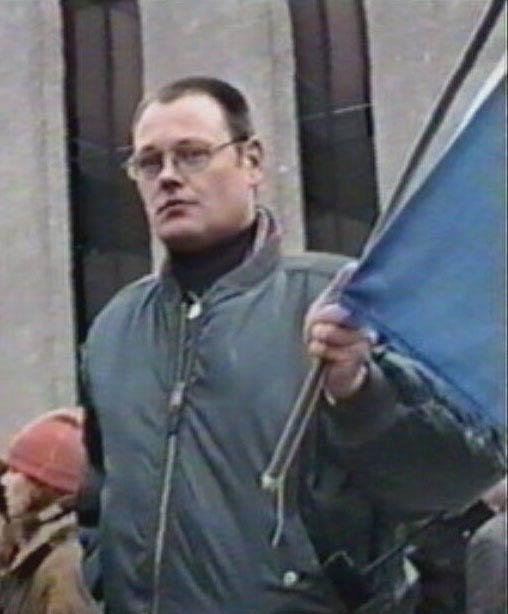 Mudde op een demonstratie in 1996