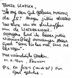 Bedankkaartje Michiel Bos