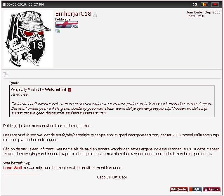 De man uit Almere ziet in 2010 het Lone Wolf idee als beste optie