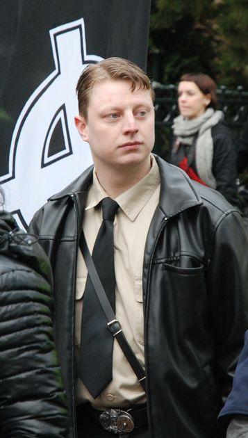 Sebastian Sportiello op een nazi demonstratie in Amersfoort, 2009