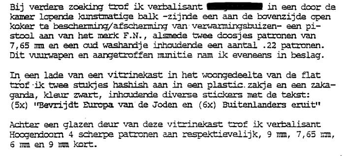 Passage uit proces-verbaal naar aanleiding huiszoeking bij Richard van der Plas, 1989