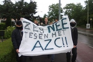 Division North Country demonstrates against a refugee center in Groningen, 2009