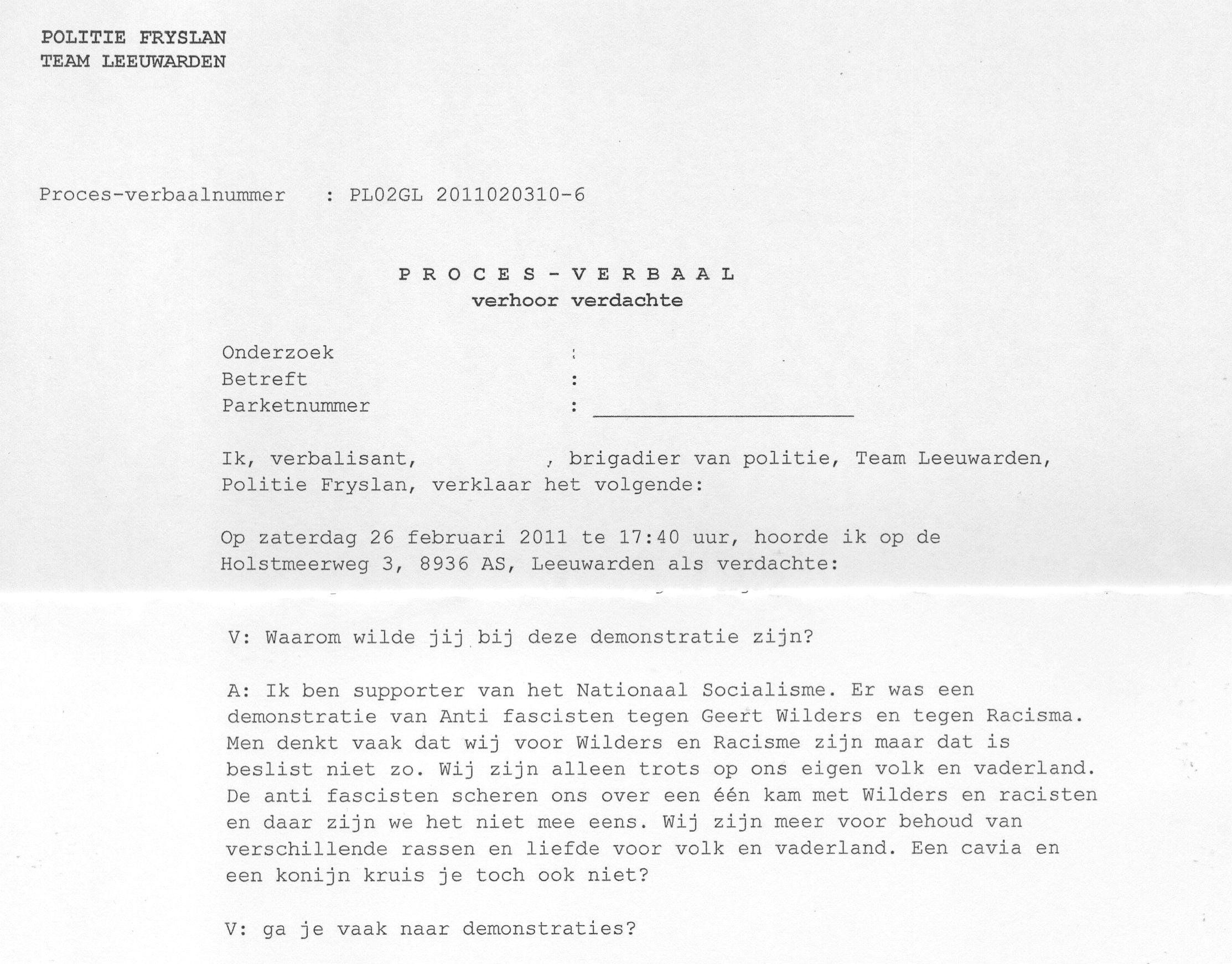 Proces verbaal arrestant Noordland demonstratie