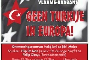 Affiche bjeenkomst comité Nee tegen Turkije
