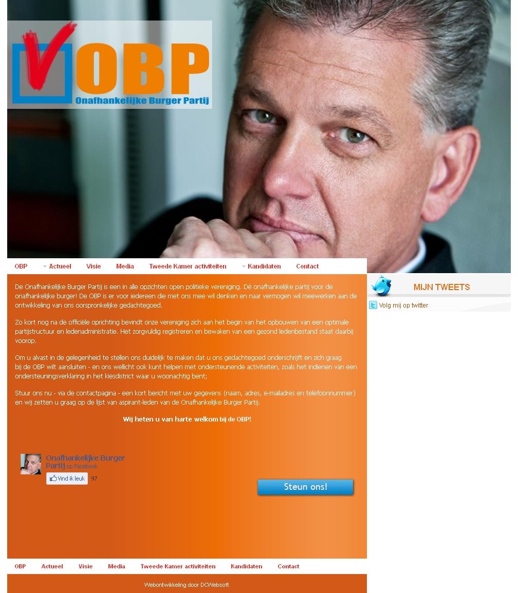 Screenshot website OBP, lidmaatschap niet mogelijk