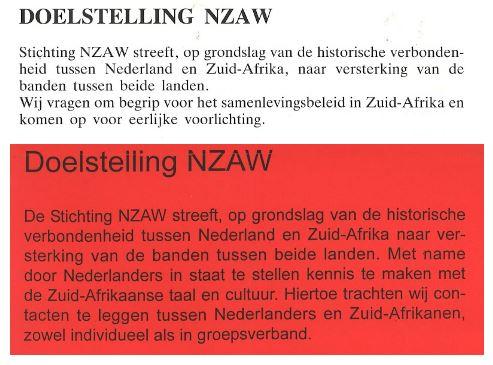 Doelstellingen NZAW in 1989 (boven) en 1999 (onder)