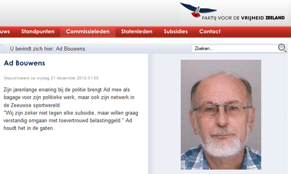 Voormalig PVV medewerker Bouwens nu lijsttrekker van OPA Veere
