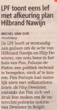 Michel van Dijk keurt samenwerking met Vlaams Belang af, 21 juni 2005 Metro