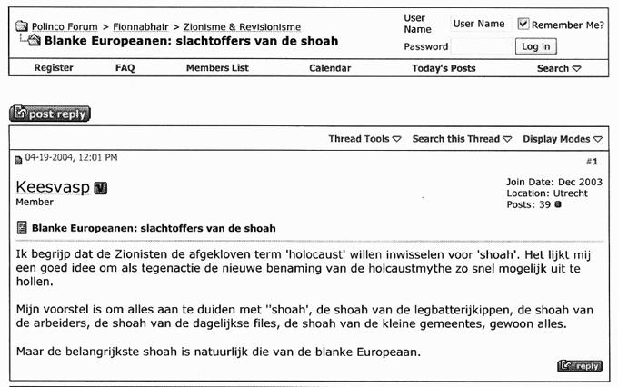 PVU ondersteuner Van Asperen op het extreemrechtse Polinco forum over de 'Holocaust mythe'.