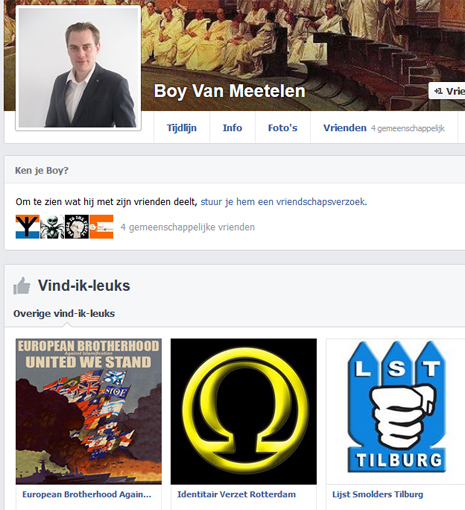 Screenshot facebookprofiel Van Meetelen
