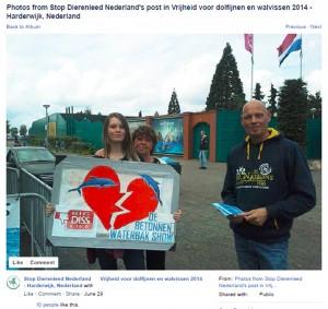 Screenshot facebook Mudde in actie tegen Dolfinarium te Harderwijk, 2014