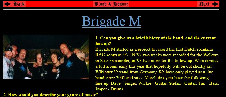 Interview met Brigade M door Blood & Honour, 2004