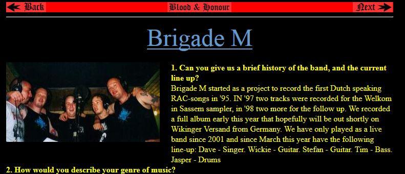 Interview met Brigade M door Blood & Honour, 2004