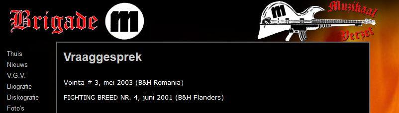 Screenshot website Brigade M, met verwijzingen naar Blood & Honour, 2005