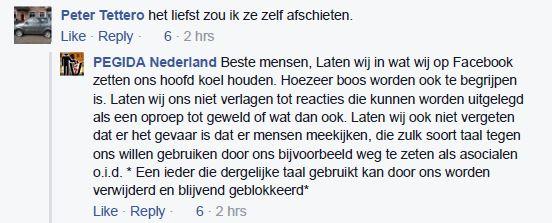 Reactie op Pegida Facebook, 2 oktober 2015