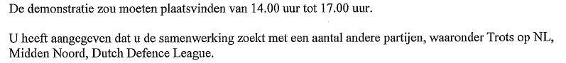 Burgemeester Den Haag reageert per brief aan Pro Patria op hun nieuwe demonstratie melding, 10 september 2014