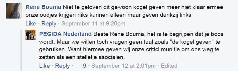 Reactie op Pegida Facebook, 11 september 2015