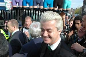 Geert Wilders op een markt in Purmerend, oktober 2015