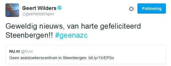 Wilders 'PVV Steenbergen