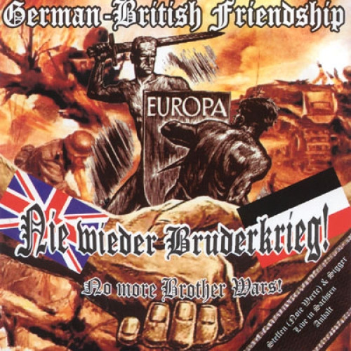 CD-hoes 'Nie wieder Bruderkrieg! / No more brother wars!' van de Engelse neonazi-muzikant Stigger. Europese Arische strijders, waaronder een Duitse Wehrmachtsoldaat, vechten tegen een niet-Arische indringer.