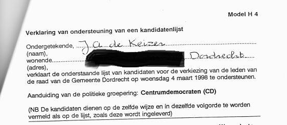 Ondersteuning J.A. de Keizer Centrumdemocraten, maart 1998 (adresgegevens verwijderd door Kafka)