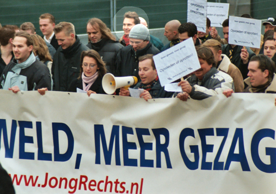 Ruud Sablerolle (red scarf) demonstration at the New Right in The Hague, January 2004