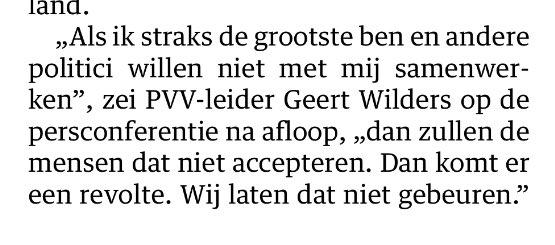 Wilders dreigt (net als De Roon in het verleden op iets andere wijze deed) over een revolte. NRC januari 2016