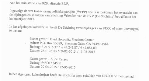 Wilders letter to Ministry statement revenue Foundation PVV Friends, juni 2016