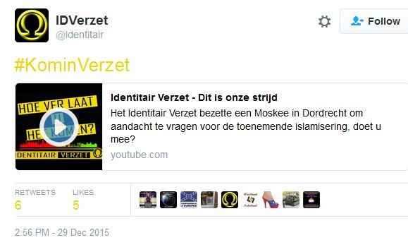 Identitair Verzet laat zich inspireren door #kominverzet oproep Wilders