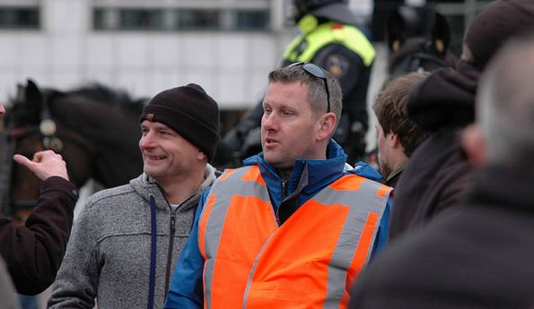 Robert Schaap (President For Post-Netherlands) and Florens van der Kooi (Action leader Outpost) demonstration Pegida, Amsterdam (date)