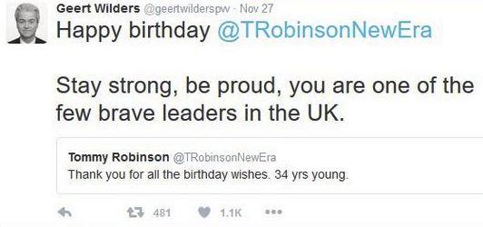 Wilders feliciteert extreemrechtse Britse activist Tommy Robinson (pseudoniem van Stephen Yaxley-Lennon), 2016