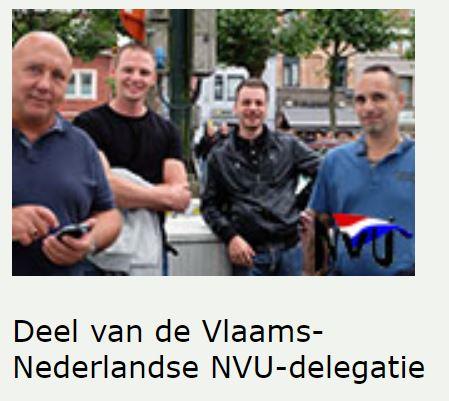 Adé Jansen (links) en Michael Jansen (daar direct naast) met NVU-delegatie bij Voorpost, september 2016 Gent (Screenshot NVU website)