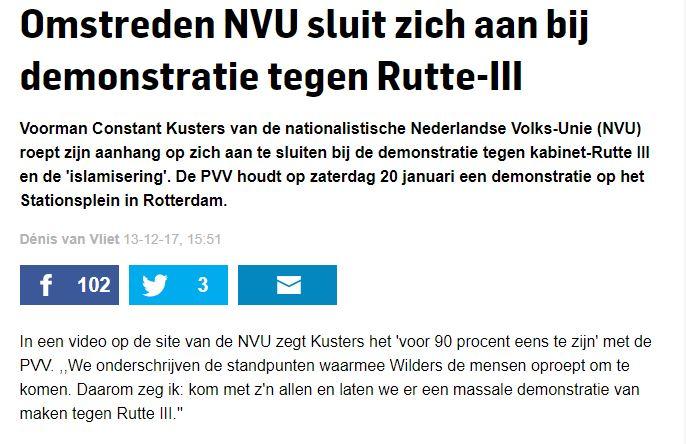 NVU roept op voor PVV demonstratie (screenshot website AD)