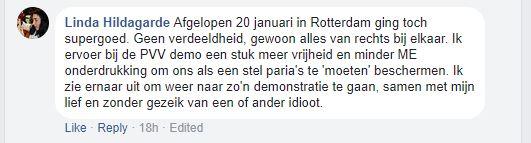 Tevreden extreemrechtse activist, maart 2018 (screenshot facebook)