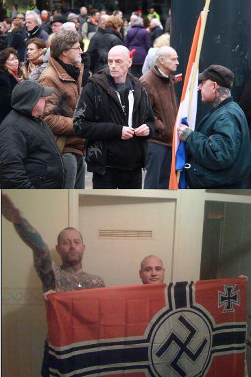 Boven: Brand en Koelewaard (met capuchon en pet) op PVV demonstratie. Onder zelfde heren, medio 2014