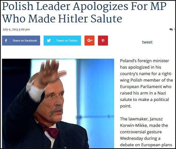 Korwin-Mikke brengt Hitlergroet, juli 2015