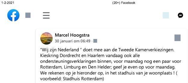 Marcel Hoogstra informeer zijn Facebook-vrienden over Wij zijn Nederland