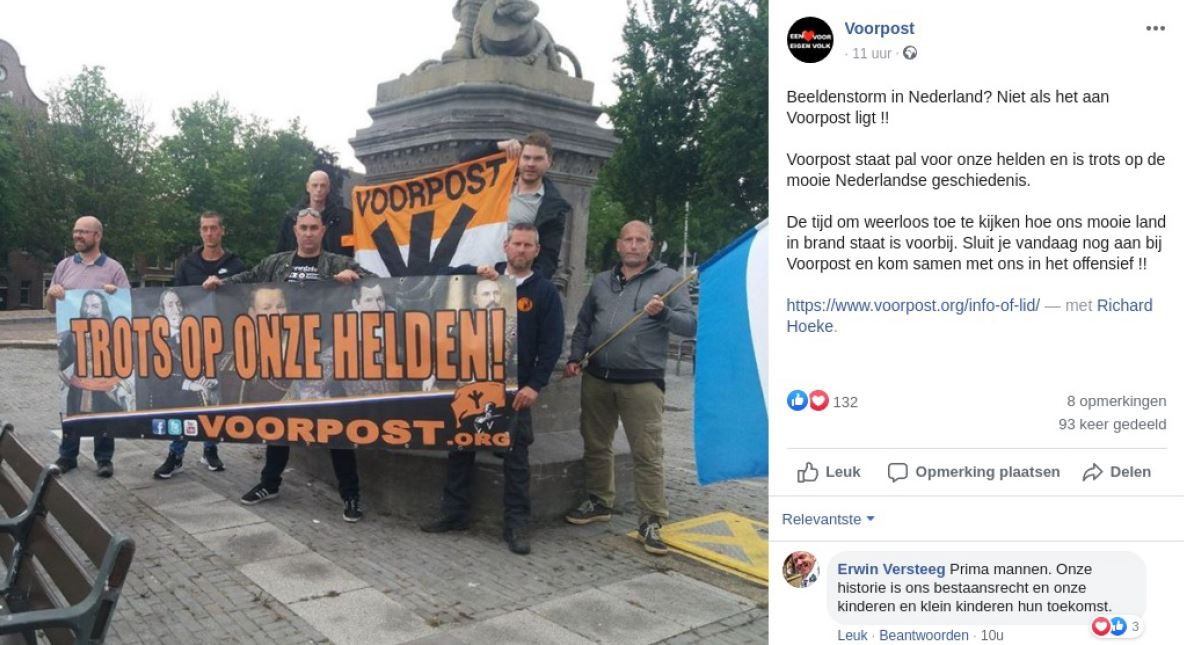 Aat Rademaker (midden vooraan) en Sjon de Haas (achteraan) op Voorpost-actie te Rotterdam, juni 2020. Erwin Versteeg reageert hier via Facebook positief op